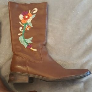 JJill Leather Embroidered Boots